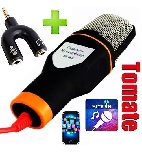 Microfone Condensador P/ Celular Sing Smule + Adaptador P3