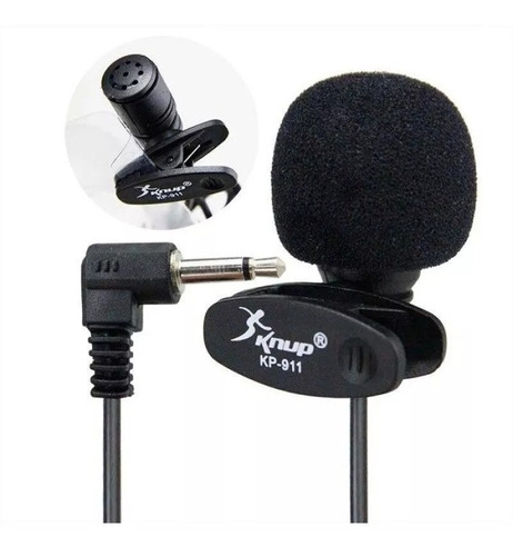 microfone de lapela para youtubers knup kp-911 + extensão 5m