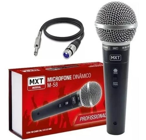 microfone dinâmico mxt c fio m-58 cabo 3m