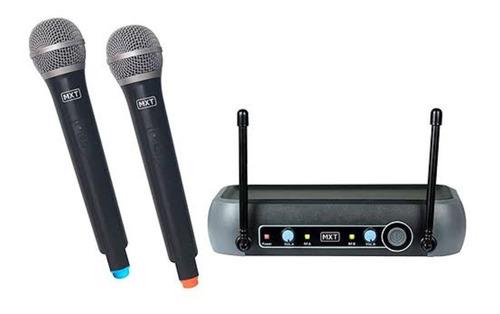 microfone duplo uhf sem fio de mão uhf-202 50 metros mxt
