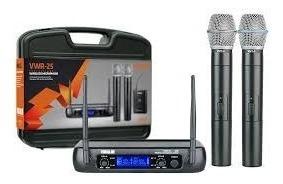 microfone duplo vwr 25 sem fio vokal vwr-25