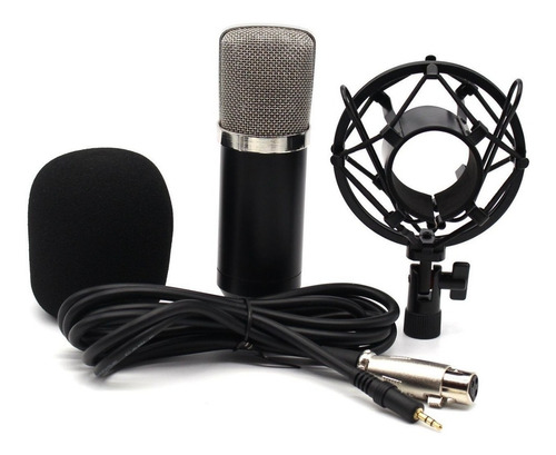 microfone estúdio bm800 + pop filter + aranha + braço articu
