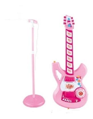 microfone guitarra eletronica infantil led violao menina