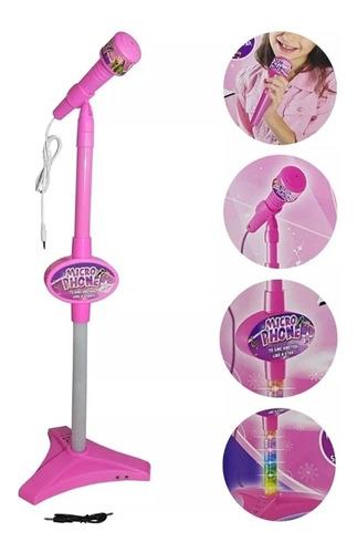 microfone infantil grande karaoke amplificador rosa meninas