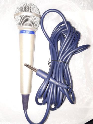 microfone karaoke dvd okê km-30 dynamic 4 metros de fio