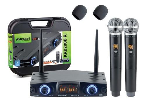 microfone karsect krd200 dr bateria recarregavel krd200dr