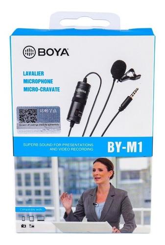 microfone lapela by-m1 boya original p/ câmera e celular nfe