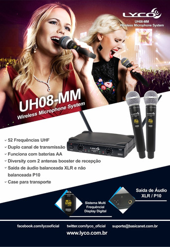 microfone lyco uh08 mm uhf s/fio 52 canais tipo vokal vla42