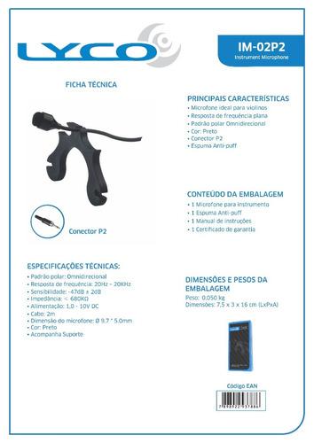 microfone para violino im02p2 plug p2 lyco instrumental