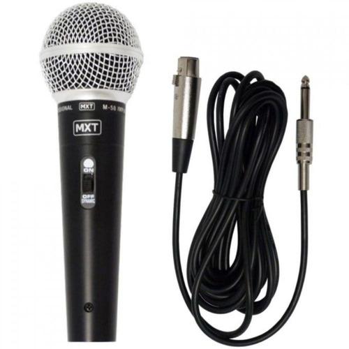 microfone profissional dinâmico mxt m-58 como shure + cabo