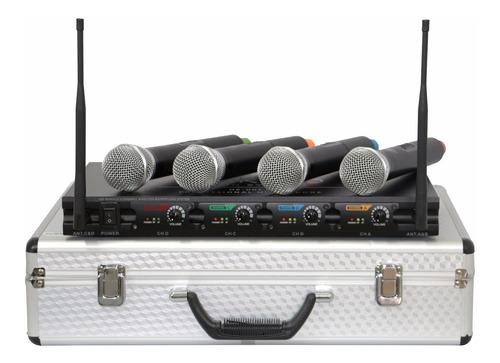 microfone profissional sem fio 4 canais palco + frete grátis