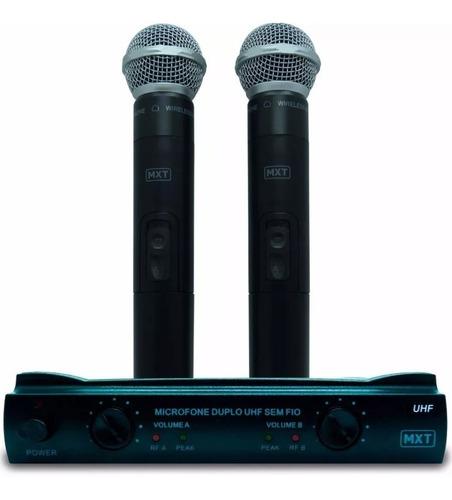 microfone s/ fio profissional duplo tipo shure c/ maleta mxt