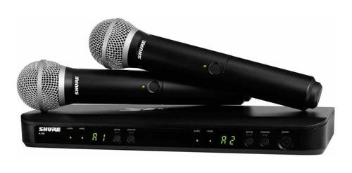 microfone s/ fio shure de mão duplo blx 288br pg58