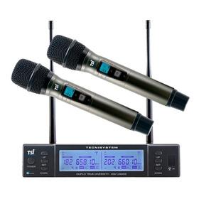 Microfone Sem Fio  Duplo Uhf Tsi Br8000
