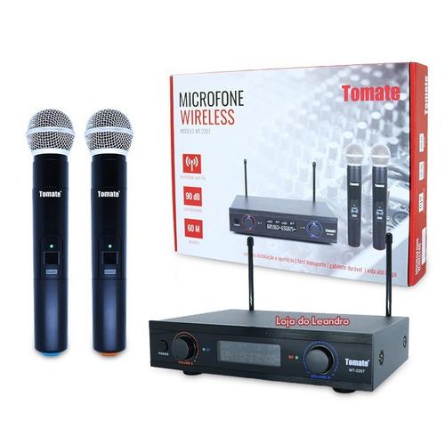 microfone sem fio 60m duplo wireless 110v 220v uhf karaokê