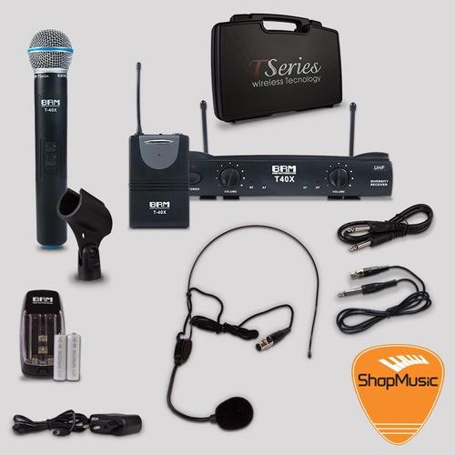 microfone sem fio brm t40x mix headset-bastão loja shopmusic