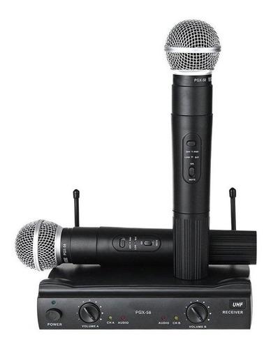 microfone sem fio duplo karaoke - pgx-58 - weisre