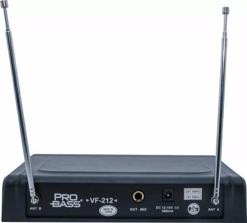 microfone sem fio duplo vhf fm igreja karaokê probass vf-212