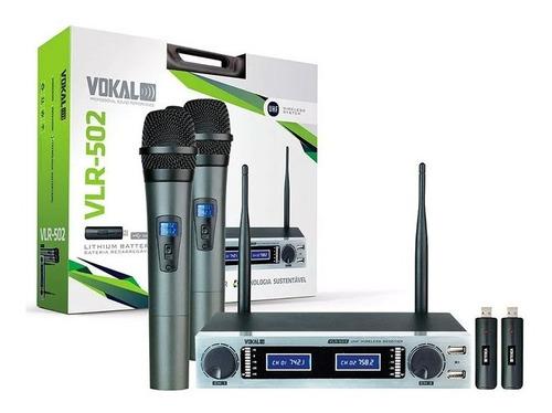 microfone sem fio duplo vokal vlr502 recarregavel vlr-502
