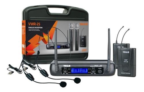 microfone sem fio duplo vwr25 hh headset vokal visor digital