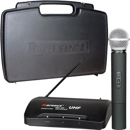 microfone sem fio karsect kru200 mao + estojo - full / loja