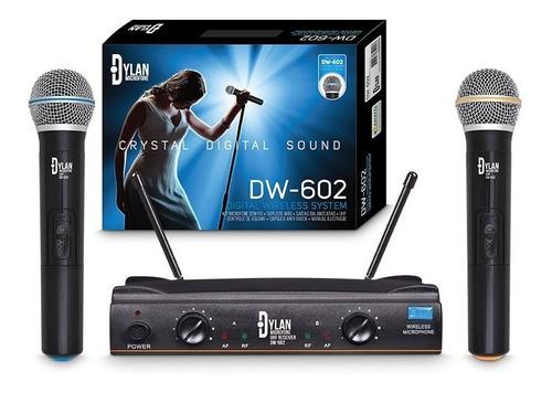 microfone sem fio profissional uhf dylan dw-602 duplo mão