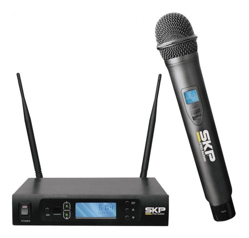 microfone sem fio skp uhf 295 uhf295 dinâmico com maleta