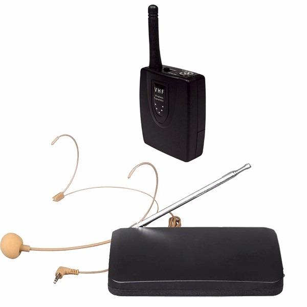 Microfone Sem Fio Auricular De Cabeça Headset Cor Preta