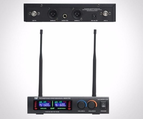 microfone tsi ud2200 s/fio duplo uhf - sound store