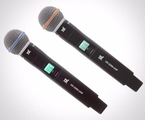 microfone tsi ud2200 s/fio duplo uhf tsi ud-2200 profissiona