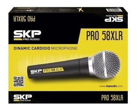microfone vocal dinâmico profissional skp pro58
