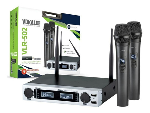 microfone vokal vlr 502 novo sem fio duplo multi frequências