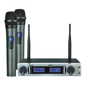 Microfones Sem Fios Vokal Vlr-502 Unidirecional Black/chrome