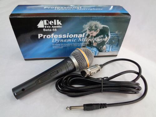 microfono alambrico profesional reikpro audio con cable 3mts