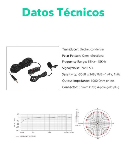 microfono balita condensador pc camaras celulares 6mts adm1