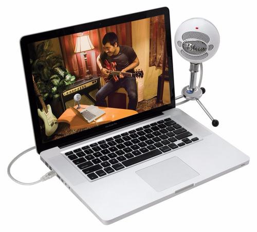 microfono blue snowball usb microphone blanco