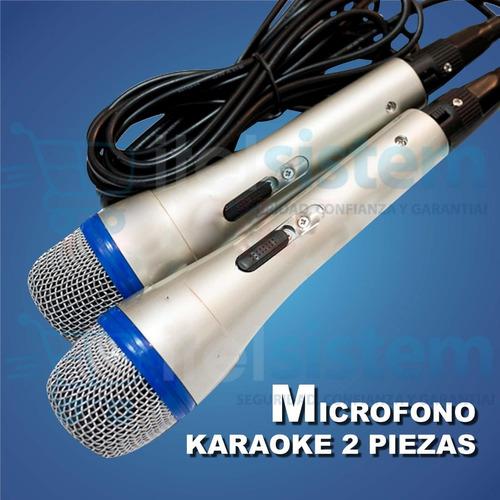 micrófono cableado duos para karaoke en casa itelsistem