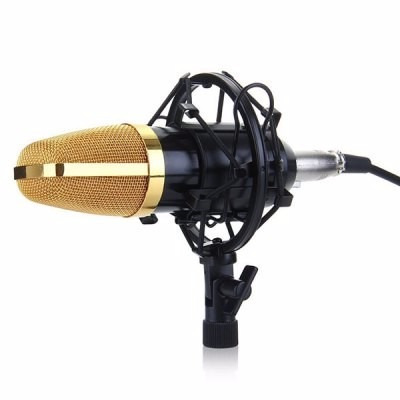 micrófono condensador bm700 profesional + adaptador + brazo