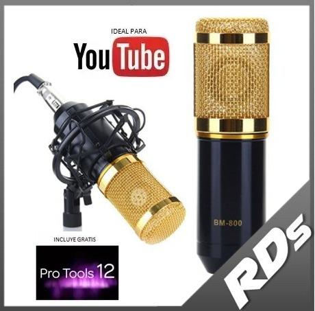 micrófono condensador bm800 estudio profesional + regalo