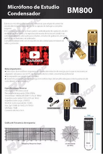 micrófono condensador bm800 profesional + adaptador + brazo