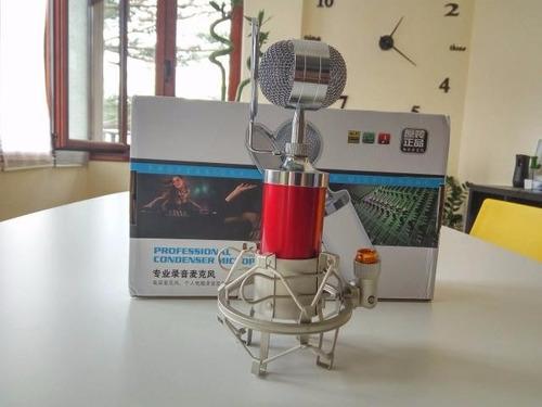 micrófono condensador bm8000 estudio profesional + adaptador