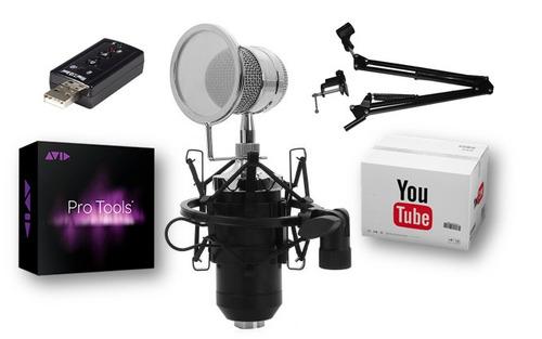 micrófono condensador bm8000 profesional + adaptador + brazo