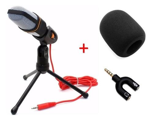 micrófono condensador con tripie antipop y divisor de audio