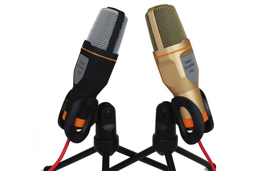 micrófono condensador con tripie + divisor de audio