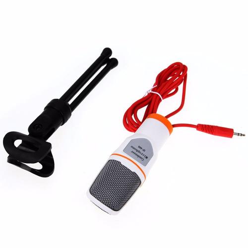 microfono condensador plug blanco minitripie semiprofesional