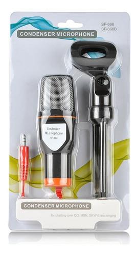 microfono condensador sf666 para pc laptop plug 3.5mm 1.8mts