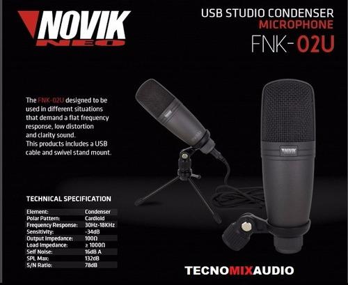 microfono condenser usb novik para pc  fnk 02u  tecnomix