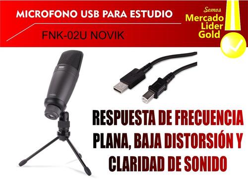 micrófono condenser usb /  pc directo novik fnk 02 u estudio
