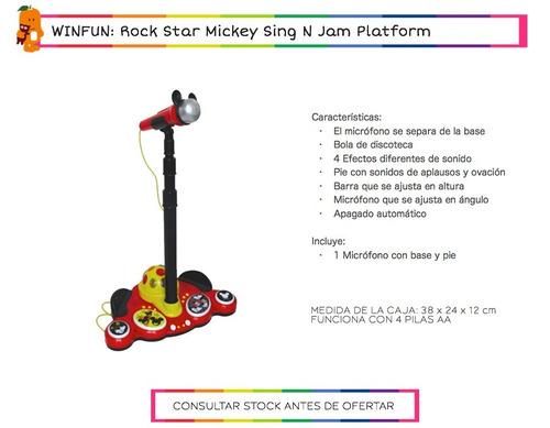 microfono de pie rock star infantil mickey win fun + cuotas