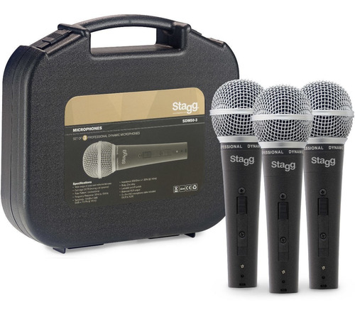 micrófono dinámico stagg x 3 + cables + estuche sdm503 envio